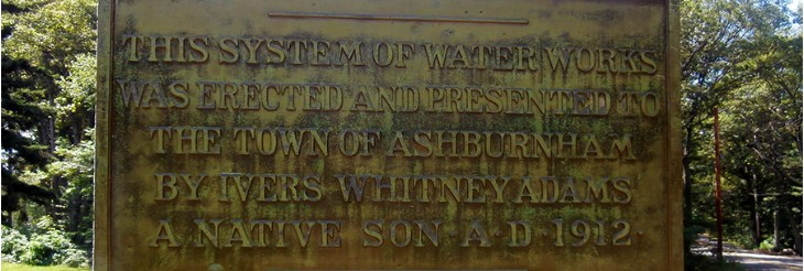 The Dedication Plaque for Ashburnham's Public Drinking Water System
